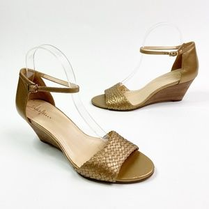 Cole Haan Metallic Gold Wedge Sandals Leather